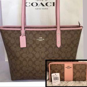 Coach ZIP Tote & Matching Wallet in Khaki-blush